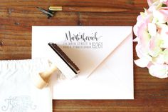 Custom Calligraphy Return Address Stamp by AngeliqueInk on Etsy