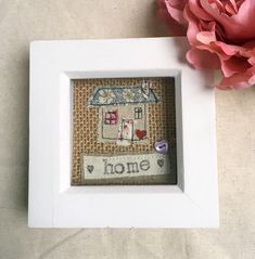 Cute new home gift with applique house. Lovely house warming | Etsy New Home Gifts, Gifts For Mum, Easy Gifts, Unique Gifts, White Box Frame, Housewarming Present, Personalised Frames, Box Frames, Fabric Crafts