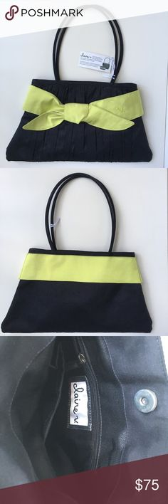 """Claire V silk handbag / purse. Beautiful black with chartreuse trim handbag. New. Lined. Silk. One zippered interior pocket and one open interior pocket. Approximate dimensions: 15"""" wide at bottom, 11"""" wide at top, 8-1/2"""" from top to bottom, excluding handle. 9"""" from top of handle to top of bag. (Most of the Claire V collection is handcrafted in training centers for landmine victims in Cambodia. Ten percent of the net proceeds are donated to education and health programs in Southeast Asia.)…"""