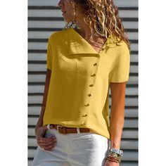V Neck Single Breasted Plain Blouses - ootdmw.com Short Sleeve Button Up, Short Sleeve Blouse, Sleeveless Blouse, Short Sleeves, Chiffon, Sexy Blouse, Single Breasted, Pattern Fashion, Shirt Blouses