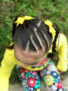 3 little braids across the head into to side ponytails. Cute for a young toddler girl
