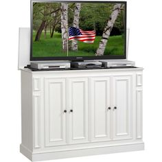 Harbor 60 Hidden Flat Panel Tv Pop Up Lift Cabinet In White By