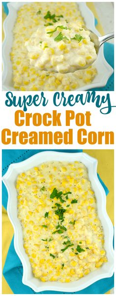 Super Creamy Crock Pot Creamed Corn. Only 5 ingredients and you have the most luscious, homemade creamed corn ever.