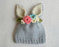 Newborn to 3 Months Bunny Hat - Bunny Floral Crown Hat - Purple Flower Hat - Easter Hat - Baby Bunny Hat - Ready to Ship Crochet Baby Hats, Cotton Crochet, Baby Knitting, Free Crochet, Knitted Hats, Knit Crochet, Knitting Patterns, Crochet Patterns, Bunny Hat