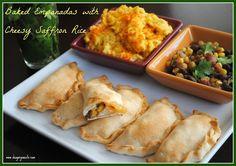 Easy Baked Empanadas with Cheesy Saffron Rice and Salsa