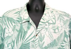 XXL Mens Tommy Bahama Soft Green Hawaiian Shirt Leaf Flowers 1 Pocket 100% Silk