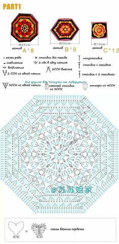Crochet Mandala, Mandala Pattern, Crochet Motif, Crochet Doilies, Knit Crochet, Granny Pattern, Afghan Blanket, Crochet Diagram, Crochet Squares