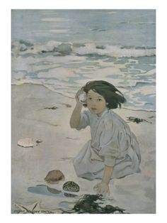 "Hearing the ""Ocean"" in a shell -  The Senses: Hearing by Jessie Willcox Smith"