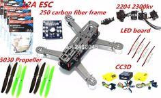 High Quality Carbon Fiber Mini 250 FPV Quadcopter Frame Mini Quad Frame 2204 2300KV Brushless Motor 12A ESC CC3D 5030