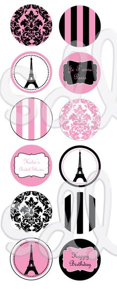 I would make something like these but in the softer pinks, black and gold. Cute little signs that say bonjour bebe, oh la la, and etc. Paris Baby Shower, Baby Shower Candy, Baby Shower Themes, Shower Baby, Paris Themed Birthday Party, Birthday Party Themes, Parisian Party, Candy Labels, Printable Designs
