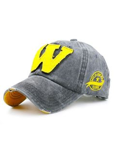 Letter W Embellished Make Old Baseball Hat - GRAY