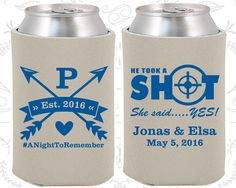 Crossed Arrows Wedding Favors, Personalized Wedding Favors, He Took a Shot, She Said Yes, Wedding Favor Coolies (470)