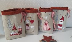 Fantastic No Cost xmas Sewing gifts Thoughts Adventskalender, Weihnachten, 4 Beutel Christmas Bags, Noel Christmas, Christmas Stockings, Christmas Sewing Projects, Christmas Crafts, Christmas Ornaments, Christmas Coasters, 242, Theme Noel