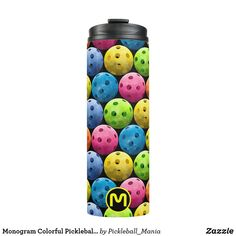Monogram Colorful Pickleballs on Black Thermal Tumbler
