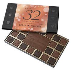 Elegant 32nd Bronze Wedding Anniversary Assorted Chocolates - elegant gifts gift ideas custom presents