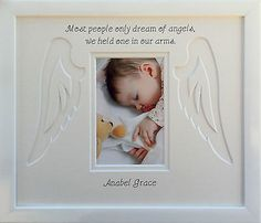 #Personalised baby infant #child angel wings memorial photo #frame, View more on the LINK: http://www.zeppy.io/product/gb/2/152072459192/