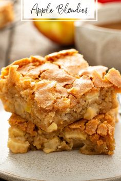 These chewy Apple Blondies are loaded with fresh apples, cinnamon, and nutmeg in each bite. Serve them warm with a scoop of vanilla ice cream and caramel sauce! Baked Apple Dessert, Apple Dessert Recipes, Apple Recipes, Easy Desserts, Baking Recipes, Delicious Desserts, Bar Recipes, Sweets Recipes, Kitchen