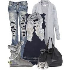 28 Trendy Polyvore Outfits Fall/Winter. Maybe the jeans are a bit too ripped up for me...the boots are the only thing I don't prefer.