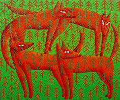 Rafał Kostrzewa, foxes dance 120x100cm, oil on canvas