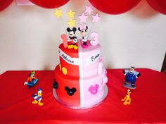 mickey and minnie mouse birthday cake for siblings!