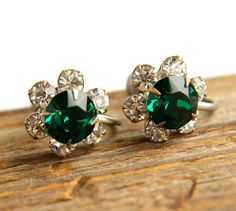 Vintage Emerald Glass & Rhinestone Clip On by MaejeanVINTAGE, $14.00