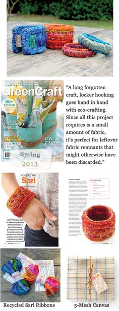 """Hooked on Sari"" Article in ""GreenCraft"" Magazine Covers Locker Hooking Bangle Bracelets with Recycled Sari Fabric."