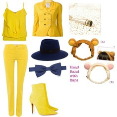 yellow bear by thebrokendoll on Polyvore featuring polyvore fashion style Morgan Chanel MaxMara Christian Louboutin Maison Michel Forzieri