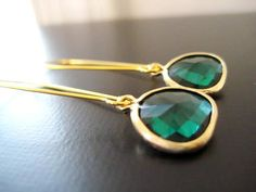 Kyle Earrings in Emerald and Gold by JulieEllynDesigns on Etsy, $22.00