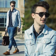Topman Denim Jacket, Marc By Marc Jacobs Polo Shirt, Coach Shades, Marc By Marc Jacobs Leather Tote, H Jeans, Aldo Wingtips