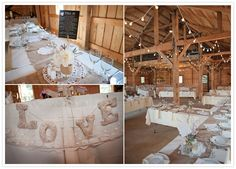 Vintage Barn Wedding | Chiffon Photography.....I was thinging the LOVE letters and the simplicity of the dollies on the burlap