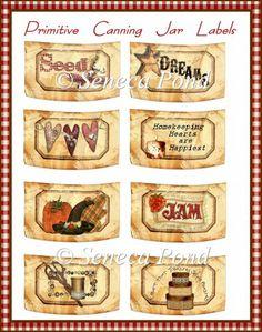 primitive labels for Mason jars  seed  dream  jam   graphics--hearts, pumpkin, etc.