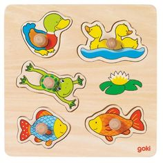 Our small pond, lift-out puzzle, goki basic. Kiesel, Small Ponds, Winnie The Pooh, Puzzle, Toys, Disney Characters, Children, Shop, Baby