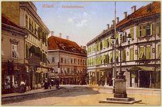 Villach - Pk Photochrome - um 1905 - Südbahnstrasse/heute Bahnhofstrasse, rechts Hotel Mosser, links vorne Hotel Fischer Klagenfurt, Bahn, Street View, Villach