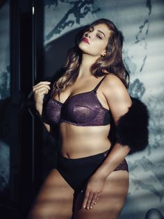Ashley Graham Lingerie lovely in lace unlined bra & matching panties. Plus-size lingerie from Addition Elle
