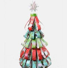The Dazzling Decoupage Holiday Tree is a great DIY tabletop tree for your home! Make a unique homemade Christmas tree with this Christmas tree craft. Happy Christmas Day, Christmas Tree Crafts, Christmas Makes, Holiday Tree, Christmas Bells, Christmas Activities, Holiday Ornaments, Christmas Projects, Christmas Ideas