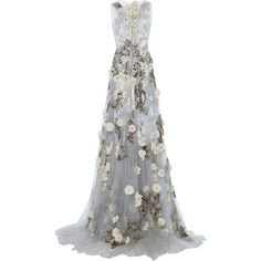 Marchesa Floral Sheer Tulle Gown (121.702.400 IDR) ❤ liked on Polyvore featuring dresses, gowns, white evening dresses, white tulle dress, white sheer dress, white ball gowns and floral gown