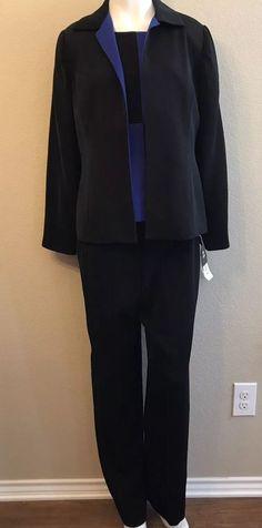 54ebef75b7 Studio I Ladies Size 8 Suit 3 Pc Blazer Top Pants Suit Royal Blue Black NWT