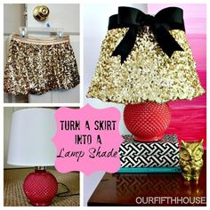 DIY Ombre Art and Gold Sequined Lampshade - Our Fifth House