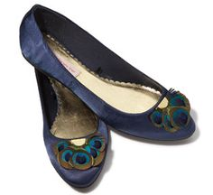"Peacock shoes for the bridesmaids - I want each of them to pick a pair of shoes they like and will ware again but still say ""peacock"" even if it is just a good peacock color - MP"