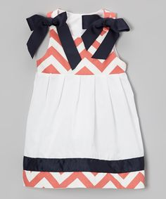 Coral & Navy Zigzag Dress - Infant & Toddler | Daily deals for moms, babies and kids - NAVY + CORAL FOR SPRING