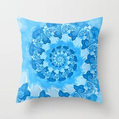Endless Ocean Blue Spiral Throw Pillow