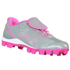 UNDER ARMOUR GLYDE RM CC GREY/PINK/WHT WOMENS SOFTBALL SHOES US 10 M EURO 42 *** Click image to review more details.