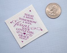 Mark your wedding day, by sharing this special memento with your dad: Today a Bride, Tomorrow a Wife, Forever Your Little Girl. The perfect personalized item to add to the Father of the Brides tie, suit, vest or any other fabric item you know he will cherish for years to come.  Example above is shown in eggplant. Tie is not included with purchase.  💙 10% off orders of two or more labels (see details below)  T H E • N I T T Y • G R I T T Y  ❥ Size: 2 inches by 2 inches ❥ 30 wording colors…