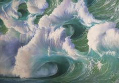 """'The Wave' acrylic on canvas triptych 72"""" X 186"""" by Wildbank"""