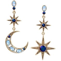 Betsey Johnson Mystic Baroque Star Moon Earrings (€38) ❤ liked on Polyvore featuring jewelry, earrings, blue, betsey johnson jewellery, star earrings, blue drop earrings, antique gold earrings and star drop earrings