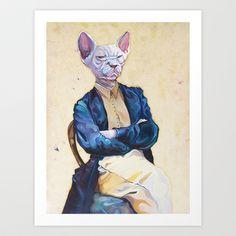 Gentleman Sphynx Art Print by Ania -
