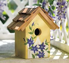 Clematis Painted Birdhouse