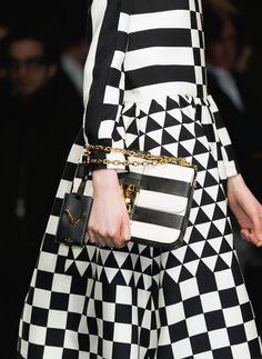 Valentino // Fall Winter 2015 // white and black check checkerboard triangle fractal print // striped handbag // cubism cubist style // fashion forward