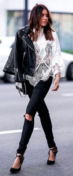 Everything about this outfit. Edgy, sexy, cool.