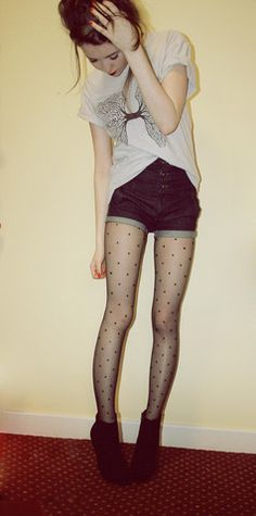Incubus Tshirt, Topshop High Waisted Shorts, Tights, Dorothy Perkins Boots